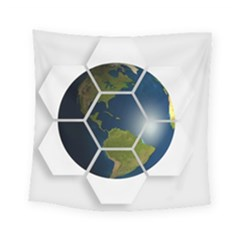Hexagon Diamond Earth Globe Square Tapestry (Small)