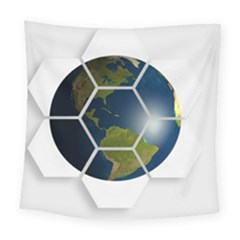 Hexagon Diamond Earth Globe Square Tapestry (Large)