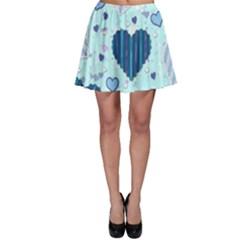 Hearts Pattern Paper Wallpaper Skater Skirt