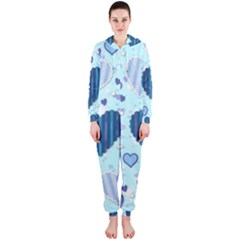 Hearts Pattern Paper Wallpaper Hooded Jumpsuit (Ladies)