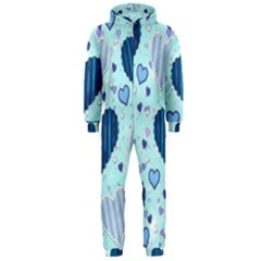 Hearts Pattern Paper Wallpaper Hooded Jumpsuit (Men)