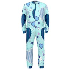 Hearts Pattern Paper Wallpaper Onepiece Jumpsuit (men)