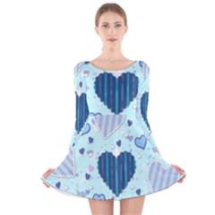 Hearts Pattern Paper Wallpaper Long Sleeve Velvet Skater Dress