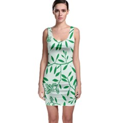 Leaves Foliage Green Wallpaper Sleeveless Bodycon Dress