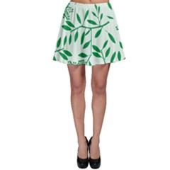 Leaves Foliage Green Wallpaper Skater Skirt