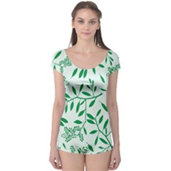 Leaves Foliage Green Wallpaper Boyleg Leotard