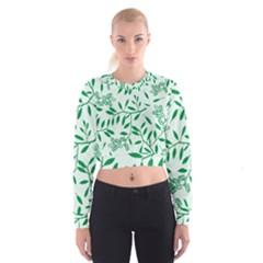 Leaves Foliage Green Wallpaper Women s Cropped Sweatshirt