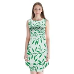Leaves Foliage Green Wallpaper Sleeveless Chiffon Dress