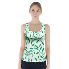 Leaves Foliage Green Wallpaper Racer Back Sports Top