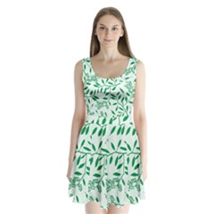 Leaves Foliage Green Wallpaper Split Back Mini Dress