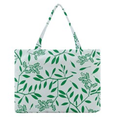 Leaves Foliage Green Wallpaper Medium Zipper Tote Bag