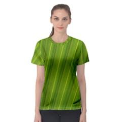 Green Leaf Pattern Plant Women s Sport Mesh Tee