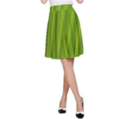 Green Leaf Pattern Plant A-Line Skirt