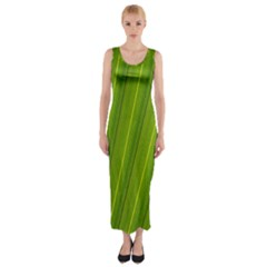 Green Leaf Pattern Plant Fitted Maxi Dress