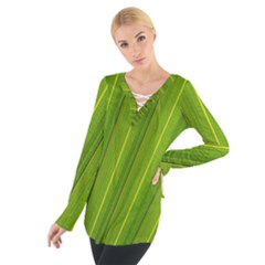 Green Leaf Pattern Plant Women s Tie Up Tee