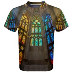 Leopard Barcelona Stained Glass Colorful Glass Men s Cotton Tee