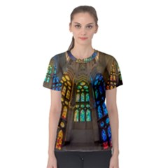 Leopard Barcelona Stained Glass Colorful Glass Women s Sport Mesh Tee