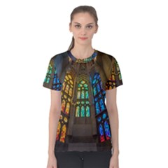 Leopard Barcelona Stained Glass Colorful Glass Women s Cotton Tee