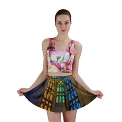 Leopard Barcelona Stained Glass Colorful Glass Mini Skirt