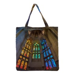 Leopard Barcelona Stained Glass Colorful Glass Grocery Tote Bag