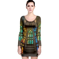 Leopard Barcelona Stained Glass Colorful Glass Long Sleeve Bodycon Dress