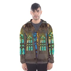 Leopard Barcelona Stained Glass Colorful Glass Hooded Wind Breaker (men)