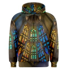Leopard Barcelona Stained Glass Colorful Glass Men s Zipper Hoodie