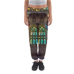 Leopard Barcelona Stained Glass Colorful Glass Women s Jogger Sweatpants