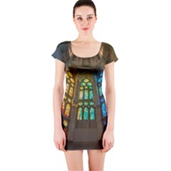 Leopard Barcelona Stained Glass Colorful Glass Short Sleeve Bodycon Dress
