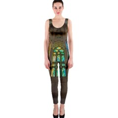 Leopard Barcelona Stained Glass Colorful Glass OnePiece Catsuit
