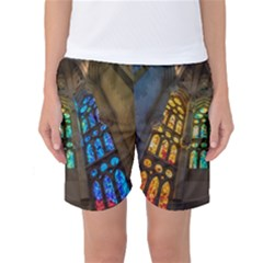 Leopard Barcelona Stained Glass Colorful Glass Women s Basketball Shorts