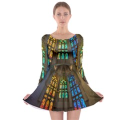 Leopard Barcelona Stained Glass Colorful Glass Long Sleeve Skater Dress