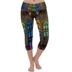 Leopard Barcelona Stained Glass Colorful Glass Capri Yoga Leggings