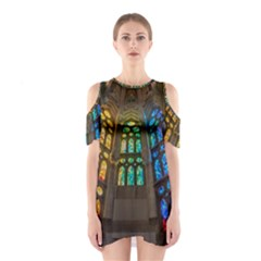 Leopard Barcelona Stained Glass Colorful Glass Shoulder Cutout One Piece