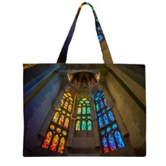 Leopard Barcelona Stained Glass Colorful Glass Large Tote Bag