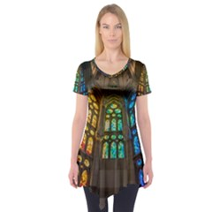 Leopard Barcelona Stained Glass Colorful Glass Short Sleeve Tunic
