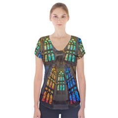 Leopard Barcelona Stained Glass Colorful Glass Short Sleeve Front Detail Top