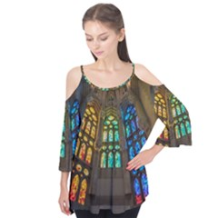 Leopard Barcelona Stained Glass Colorful Glass Flutter Tees