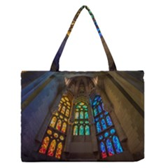 Leopard Barcelona Stained Glass Colorful Glass Medium Zipper Tote Bag