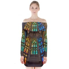 Leopard Barcelona Stained Glass Colorful Glass Long Sleeve Off Shoulder Dress