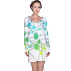 Network Connection Structure Knot Long Sleeve Nightdress