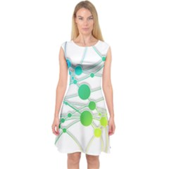 Network Connection Structure Knot Capsleeve Midi Dress