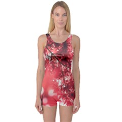 Maple Leaves Red Autumn Fall One Piece Boyleg Swimsuit
