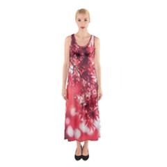 Maple Leaves Red Autumn Fall Sleeveless Maxi Dress