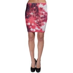 Maple Leaves Red Autumn Fall Bodycon Skirt