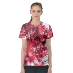 Maple Leaves Red Autumn Fall Women s Sport Mesh Tee
