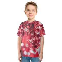 Maple Leaves Red Autumn Fall Kids  Sport Mesh Tee