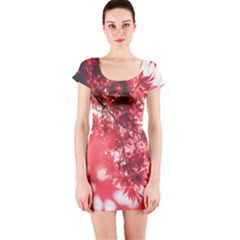 Maple Leaves Red Autumn Fall Short Sleeve Bodycon Dress