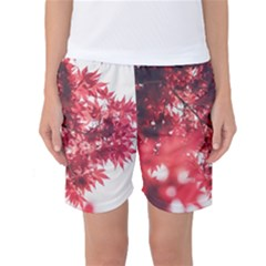 Maple Leaves Red Autumn Fall Women s Basketball Shorts