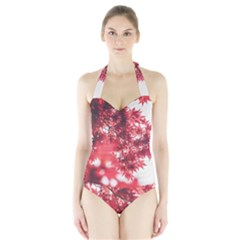 Maple Leaves Red Autumn Fall Halter Swimsuit